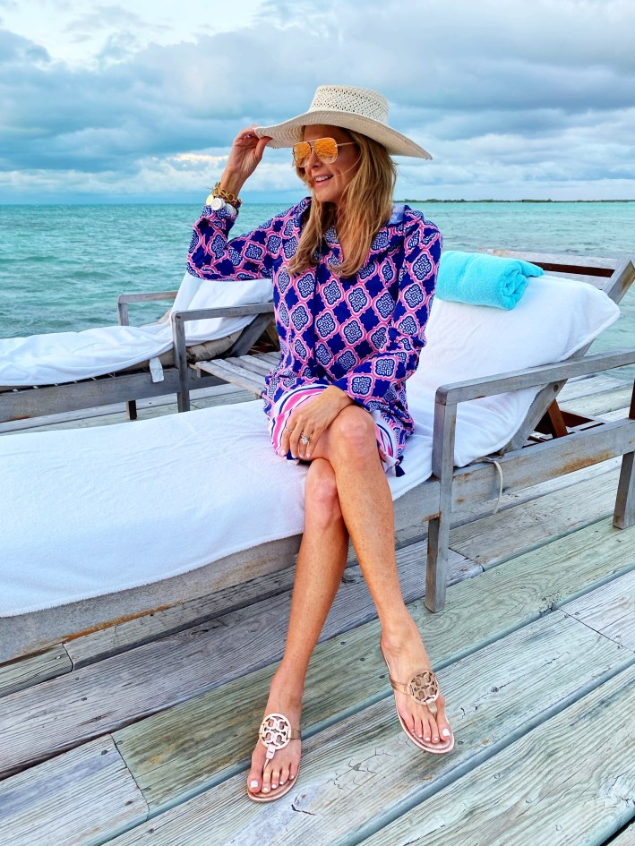 Tanya Foster in Cabana Life dress and tory burch shoes on the beach
