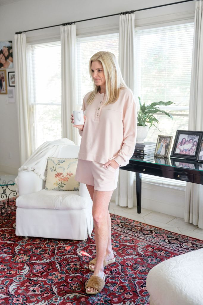 tanya foster wearing loft henley and shorts