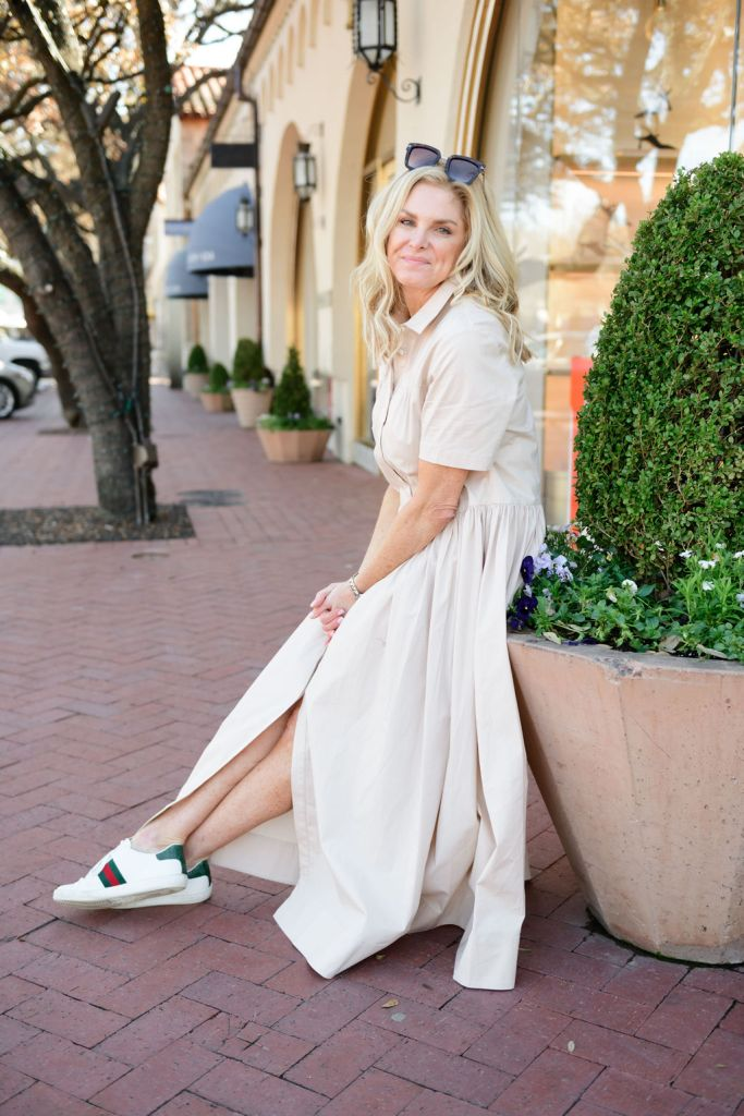 tanya foster wearing gucci sneakers with staud dress from nordstrom