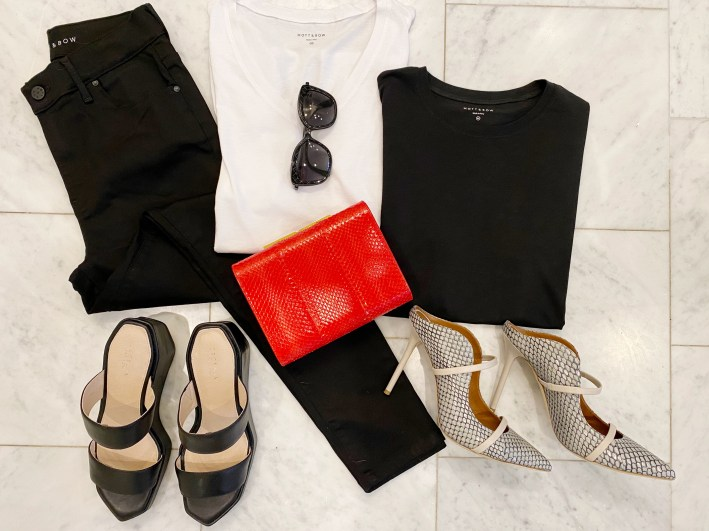 Mott & Bow black skinny jeans with mott and bow black and white shirts ODP clutch and cecelia new york shoes maureen double band mule