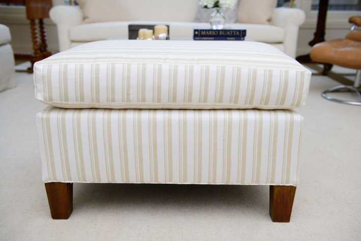 Ottoman recovered in Schumacher Capri Stripe