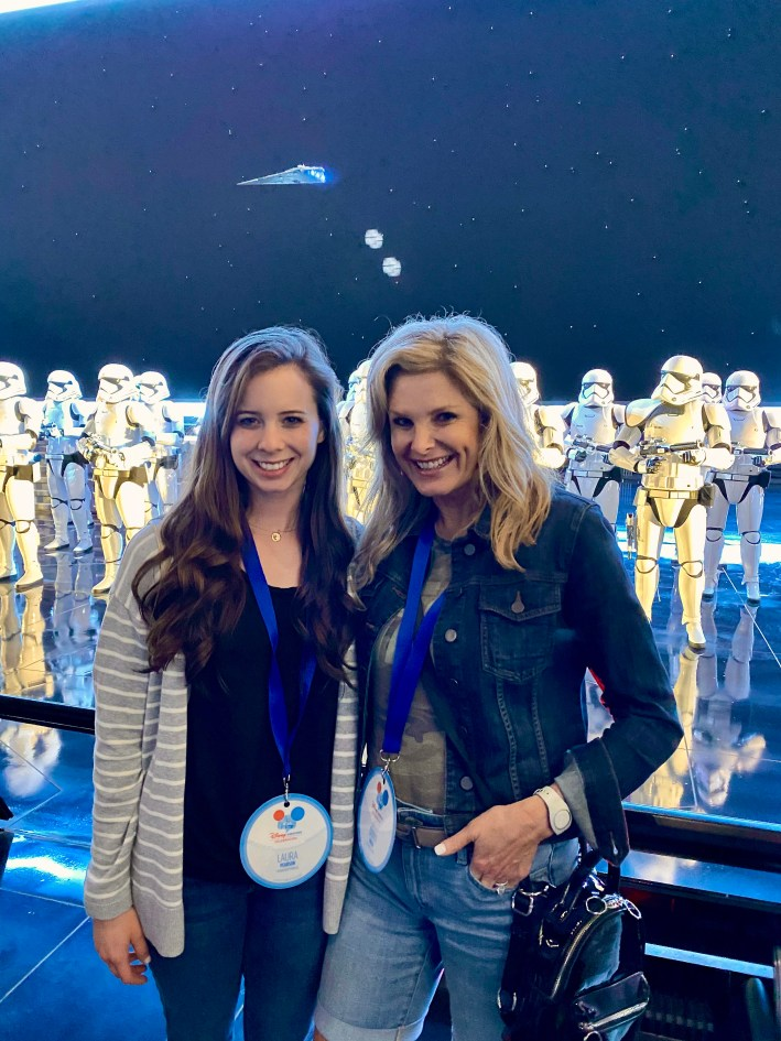 Laura Pearson and Tanya Foster inside the Rise of the Resistance ride at Disney World