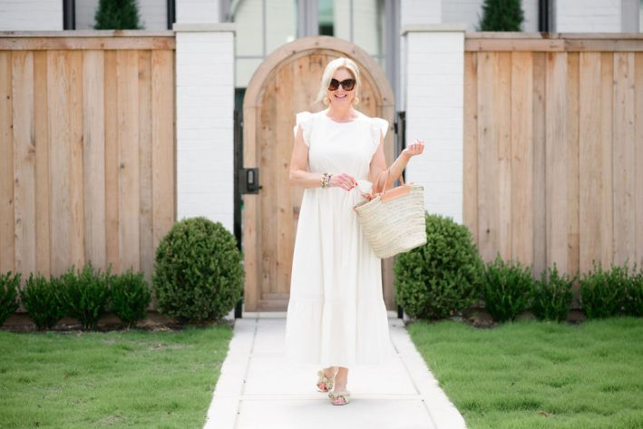 Tanya Foster wearing white ann taylor tiered maxi dress