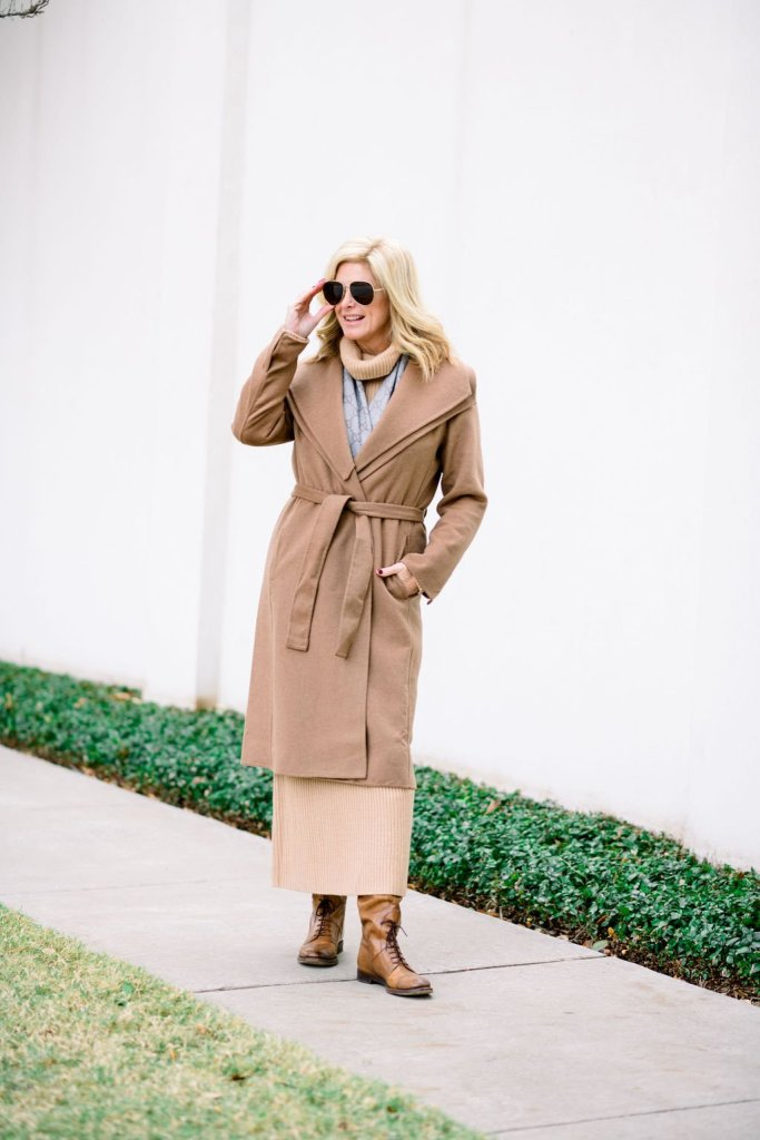 winter trends TAnya foster in camel color sweater dress with chico's double collar wool blend wrap coat and boots with a gucci scarf