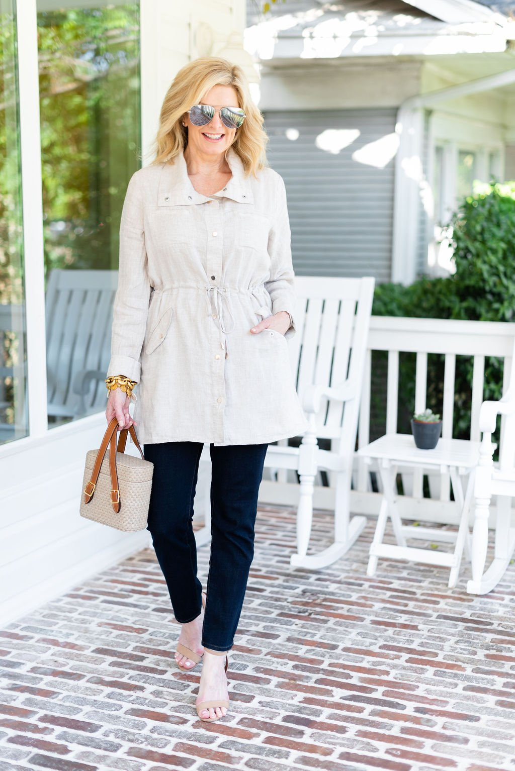 National Girlfriends Day featured by top US fashion blogger, Tanya Foster, wearing Chico's girlfriend denim: image of a woman wearing Chico's girlfriend jeans, microfiber tank, and a linen utility jacket.