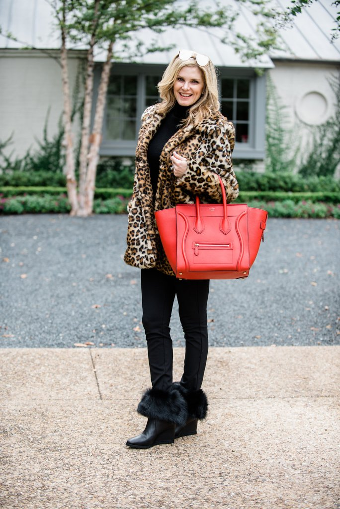 Vince Camuto leopard print faux fur coat with Theory black leggins and Taryn Rose Massima boots