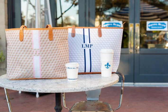 two monogrammed tote bags from Barrington gifts