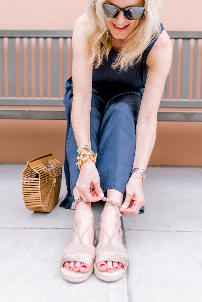 Nic & Zoe destination pants and tank with Eliza ankle wrap sandal.