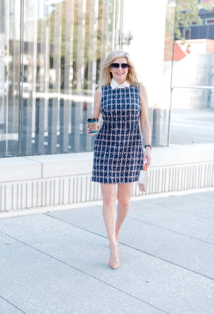 Eliza J tweed dress from Nordstrom with Charlotte Tilbury Super Model Body on legs