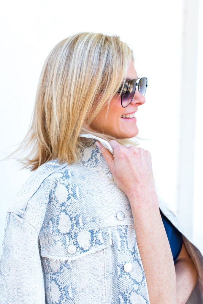 Tanya Foster Wearing Snakeskin Trend for Spring