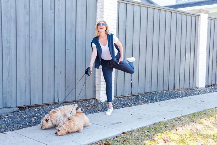 Tanya Foster in Cuyana athleisure sweats