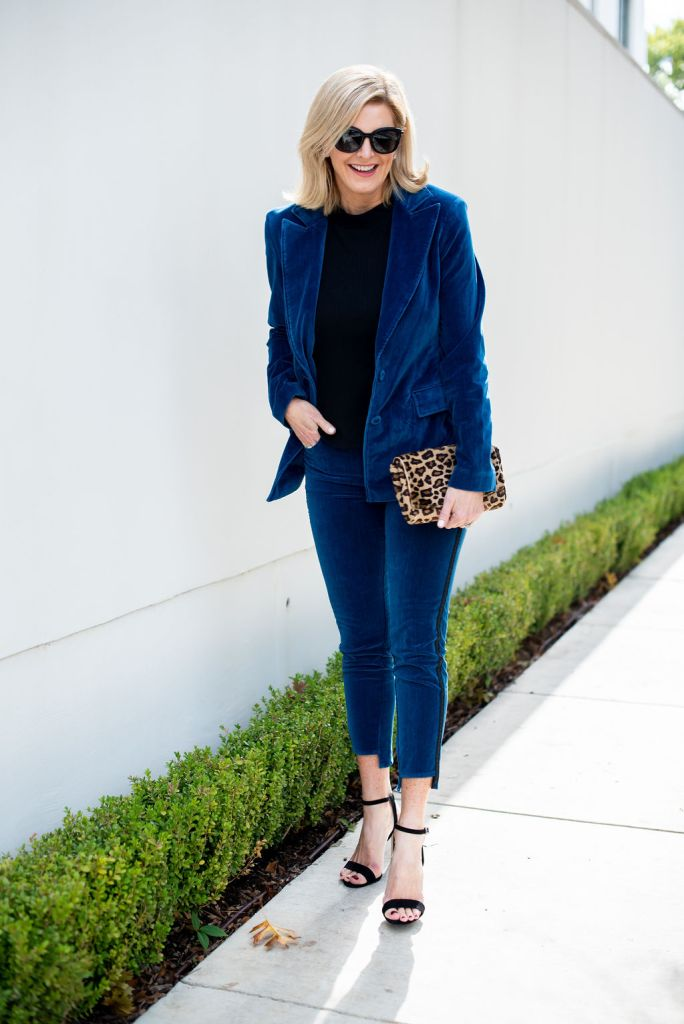 TanyaFoster.com featuring this beautiful blue velvet suit from Parker Smith