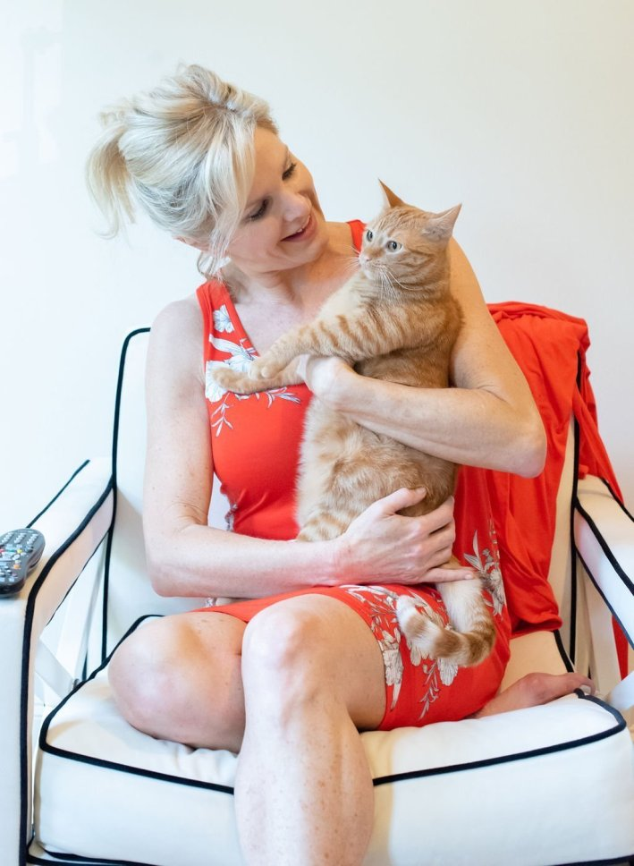 Tanya Foster and her female orange tabby cat Ruby Lou