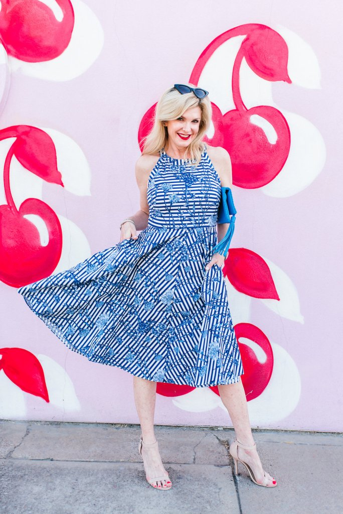 Eliza J floral stripe fit and flare dress from Nordstrom