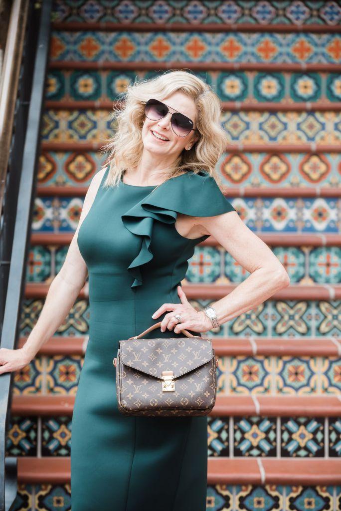 Eliza J dress with ruffle in green