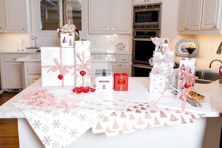 wrapped gifts in a kitchen