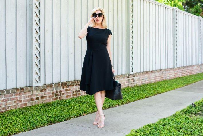 Tanya Foster in a black dress