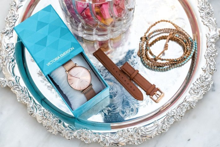 Victoria Emerson | The Columbus Day Victoria Emerson SALE! by popular Dallas fashion blogger, Tanya Foster: image of a Victoria Emerson watch and Victoria Emerson stack bracelets.