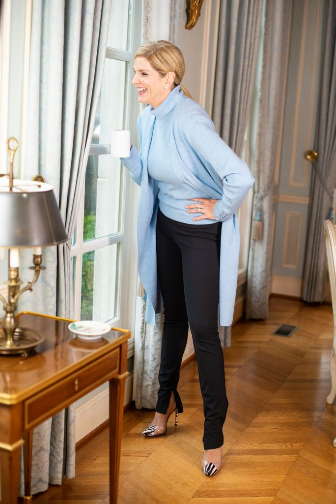 Talbots duster and shell with black slim pants and heels