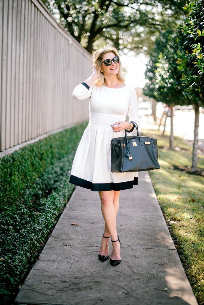 Winter White Eliza J Dot Textured Fit & Flare dress with black heels