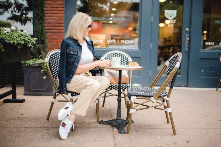 Paperbag waist pants from Topshop, Gucci sneakers, denim jacket