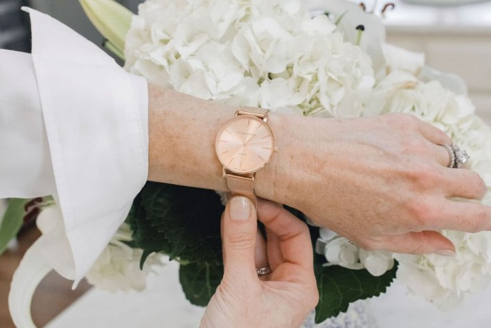 Victoria Emerson | The Columbus Day Victoria Emerson SALE! by popular Dallas fashion blogger, Tanya Foster: image of a woman wearing a Victoria Emerson watch.