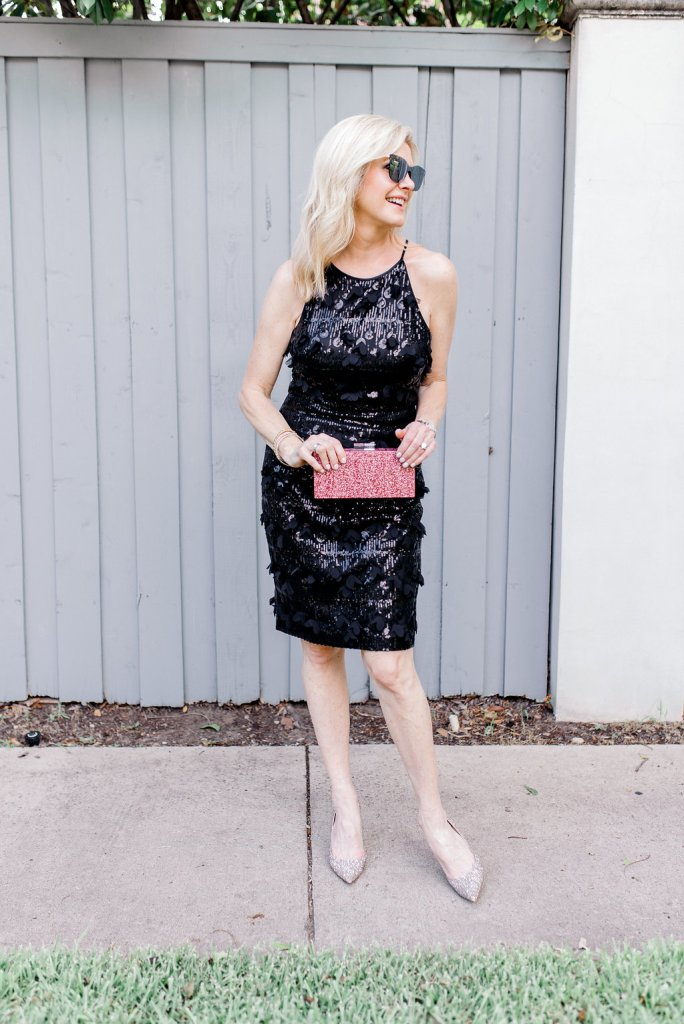Tanya Foster wears an Eliza J cocktail dress from Nordstrom. Black, sequin cocktail dress.