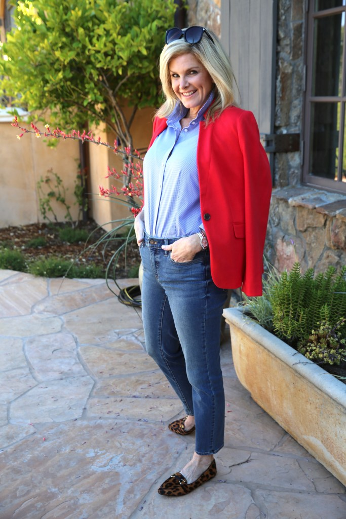 Talbots denim slim ankle in baxter wash with Talbots shirt and red jacket