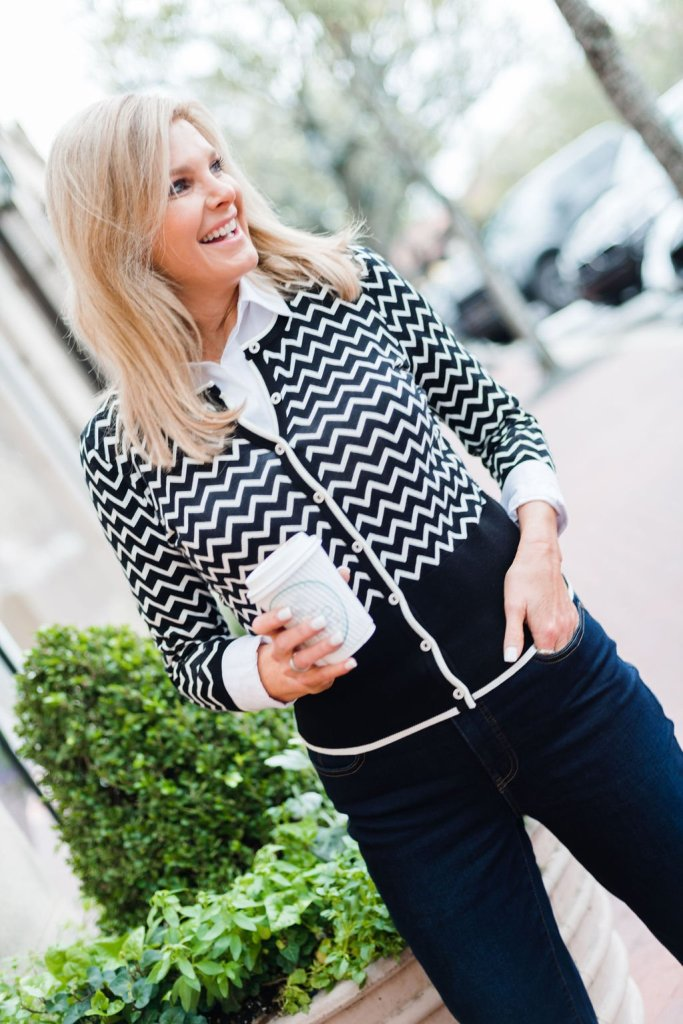 Tanya Foster wearing a TALBOTS X O, THE OPRAH MAGAZINE COLLECTION cardigan