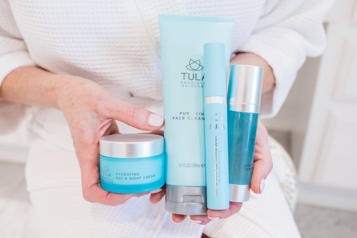 Tula Purifying Cleanser, Hydrating Day and Night Cream, multi spectrum eye renewal serum and aqua infusion power liquid on QVC