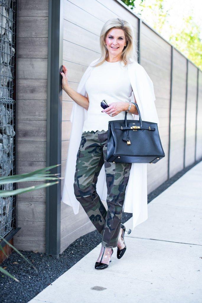 Re/Done Cargo pants, cream color top, Lafayette 148 coat, Schutz clear booties, black Hermes Birkin bag