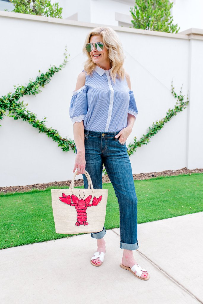 Shicato straw bag with lobster, Kut denim, BB Dakota cold shoulder top