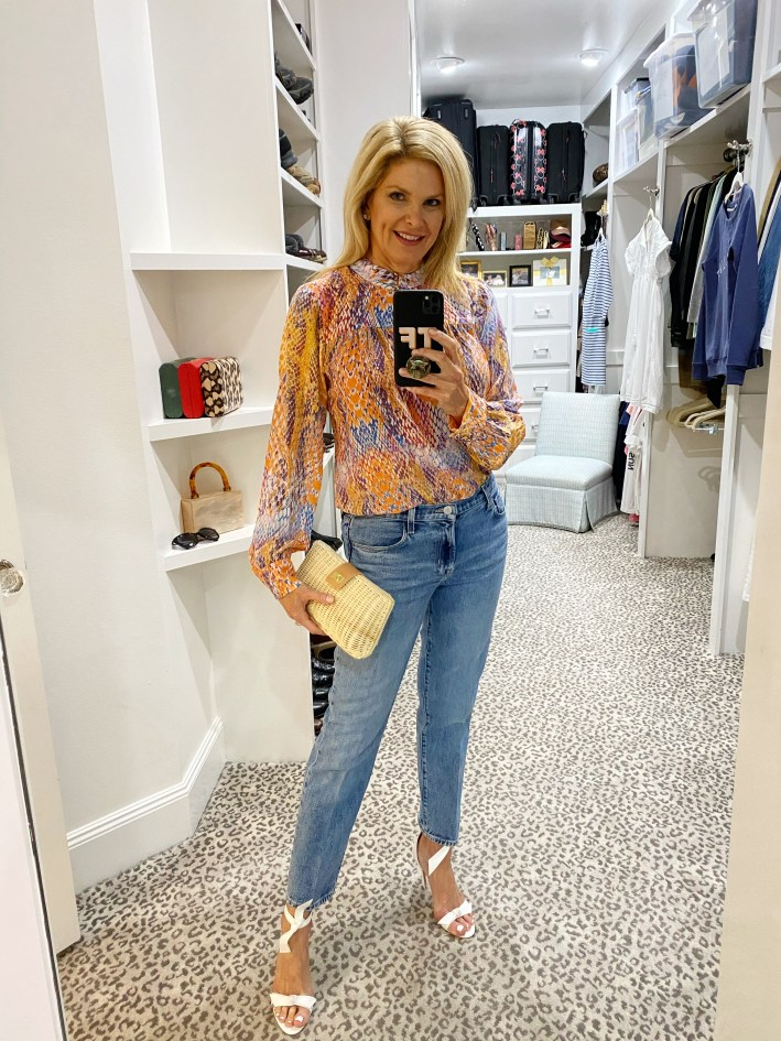 coming soon tanya foster in hale bob blouse jeans tuckernuck straw clutch and alexandre birman clarita sandals