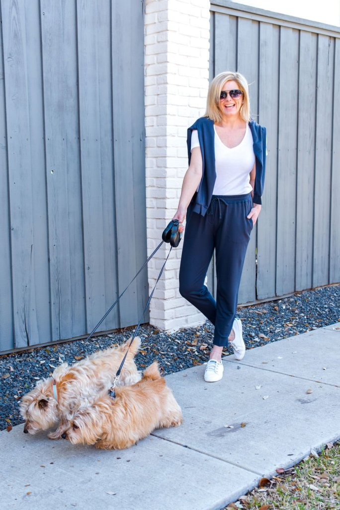 Tanya Foster walking her dogs