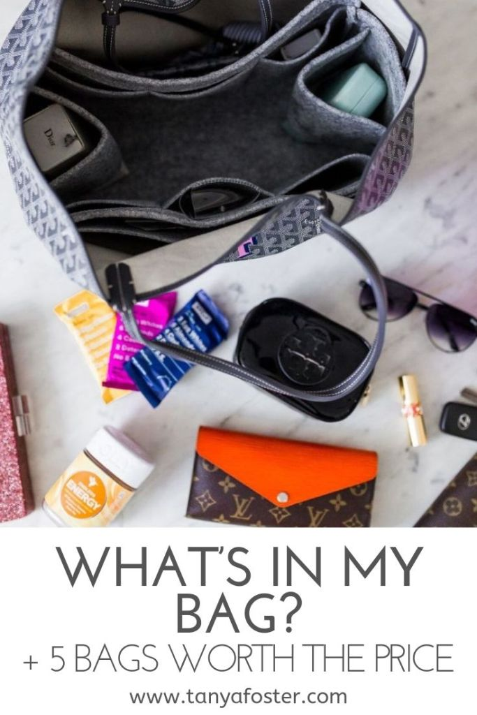 What's in my bag and 5 bags worth the price | 5 Best Designer Bags to Invest in and What's in my Bag by popular Dallas fashion blogger, Tanya Foster: image of the inside of a bag with a Goyard Saint Louis PM Bag Insert Organizer, Louis Vuitton wallet, sunglasses, and RX Bars.