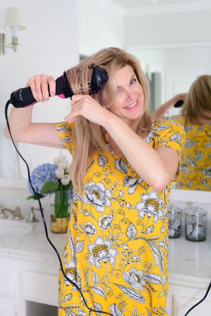 Tanya Foster with Revlon hair dryer and hot air brush