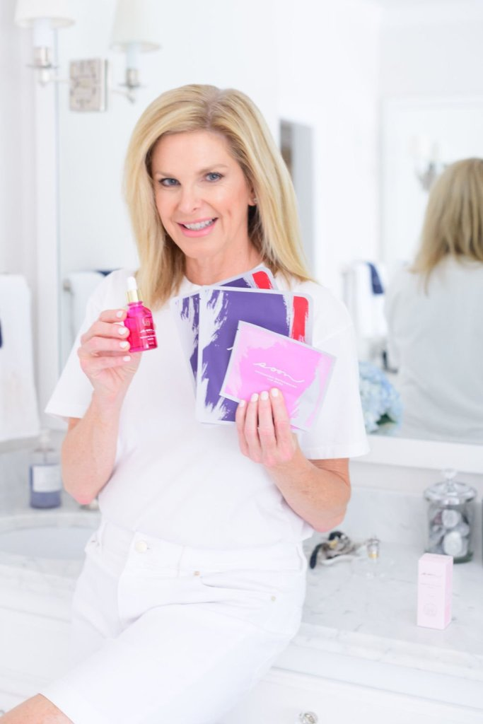 Tanya Foster holding soon skincare face masks and mermaid serum