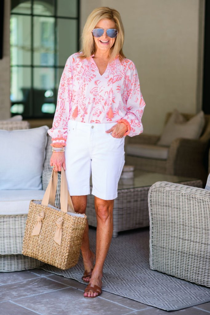 how to style a blouse for summer Tanya foster in sail to sable blouse and talbots girlfriend denim jean shorts
