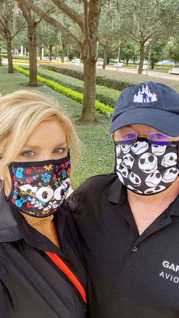 Tanya and Pete at Walt Disney World 2020 with face masks