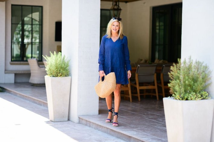 Tanya Foster in a blue eyelet Sail to sable dress with gucci wedge espadrilles and a straw bag and tuckernuck sunglasses