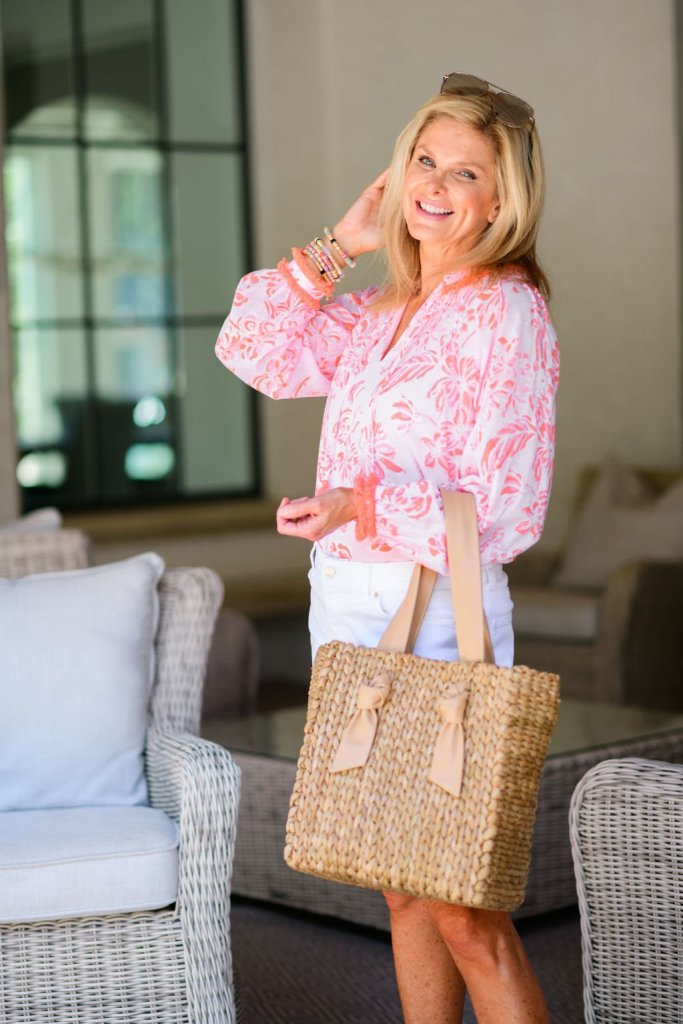 Tanya foster in sail to sable blouse and talbots girlfriend denim jean shorts how to style a blouse this summer