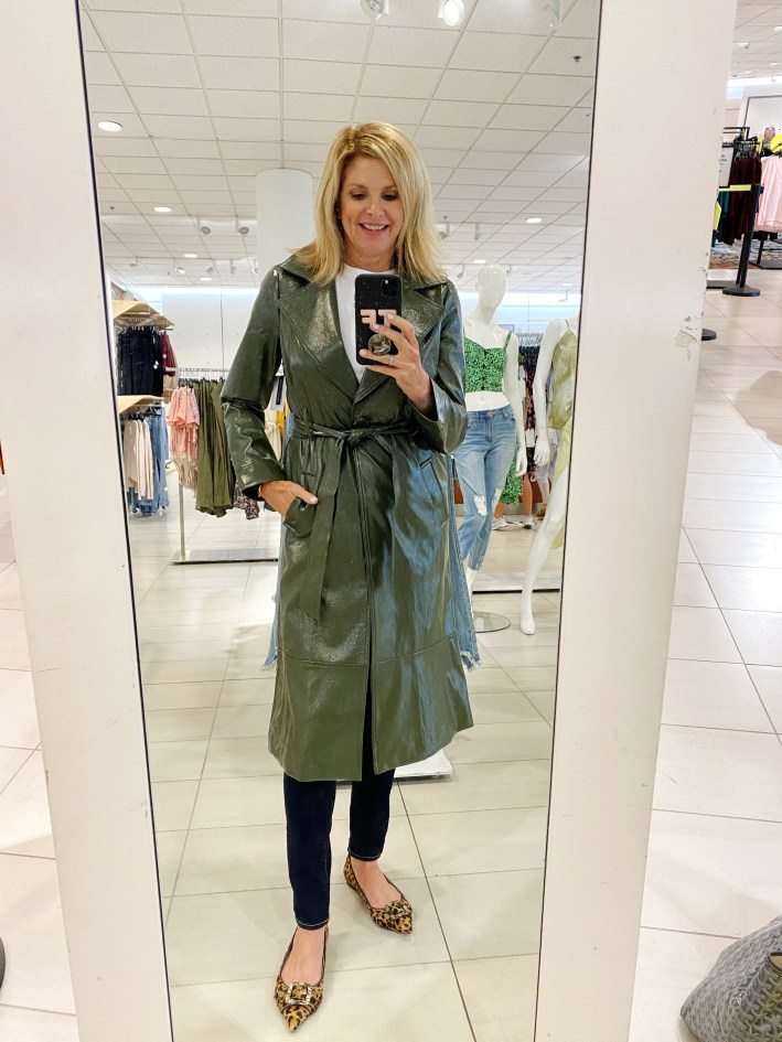 tanya foster in Leith patent leather green trench coat and jeans and animal print pointy toe flats
