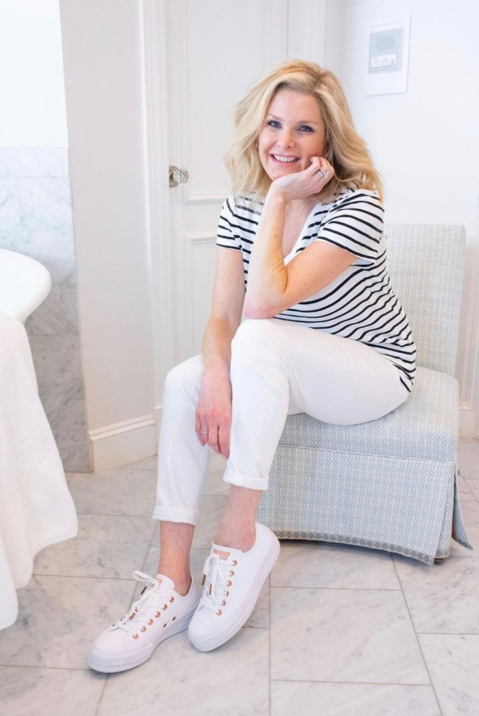 tanya foster in soma white jeans and soma striped tee