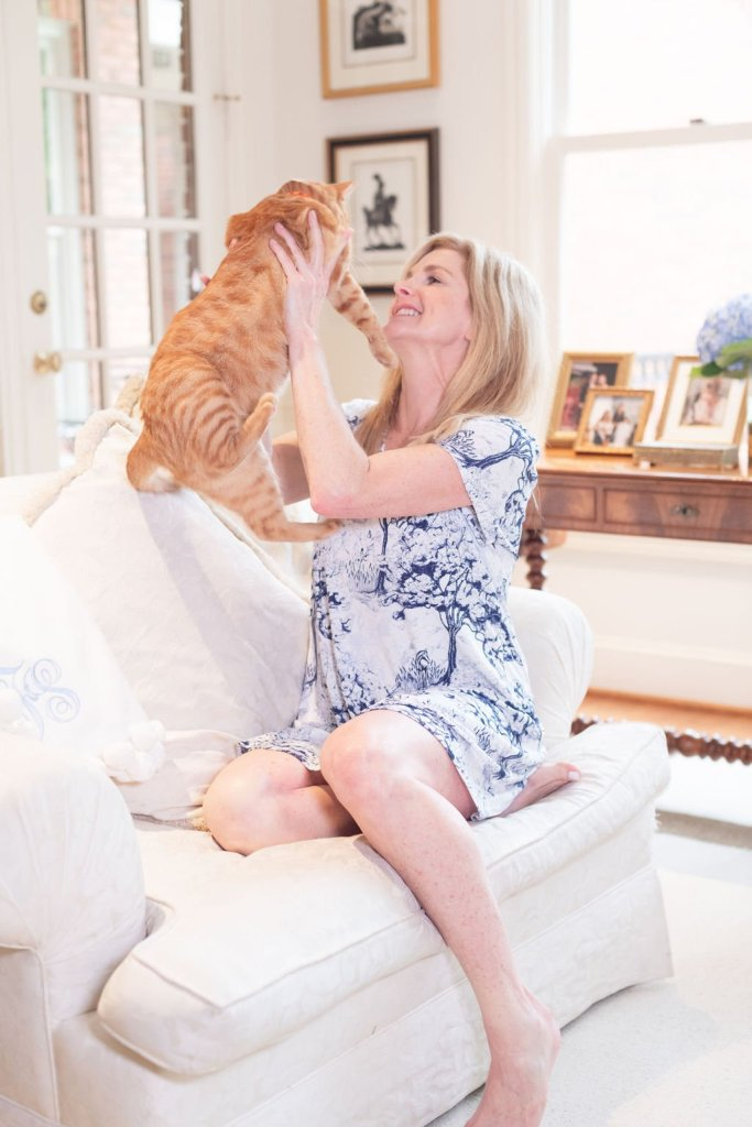 Tanya Foster with her orange tabby cat during quarantine
