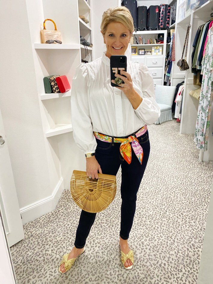 tanya foster jeans blouse hermes scarf belt and bag