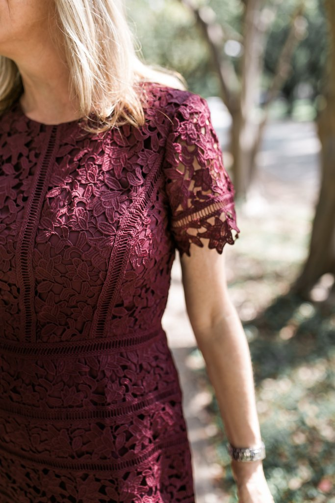 This burgundy lace dress from Talbots and nude heels are perfect for any dressy occasion
