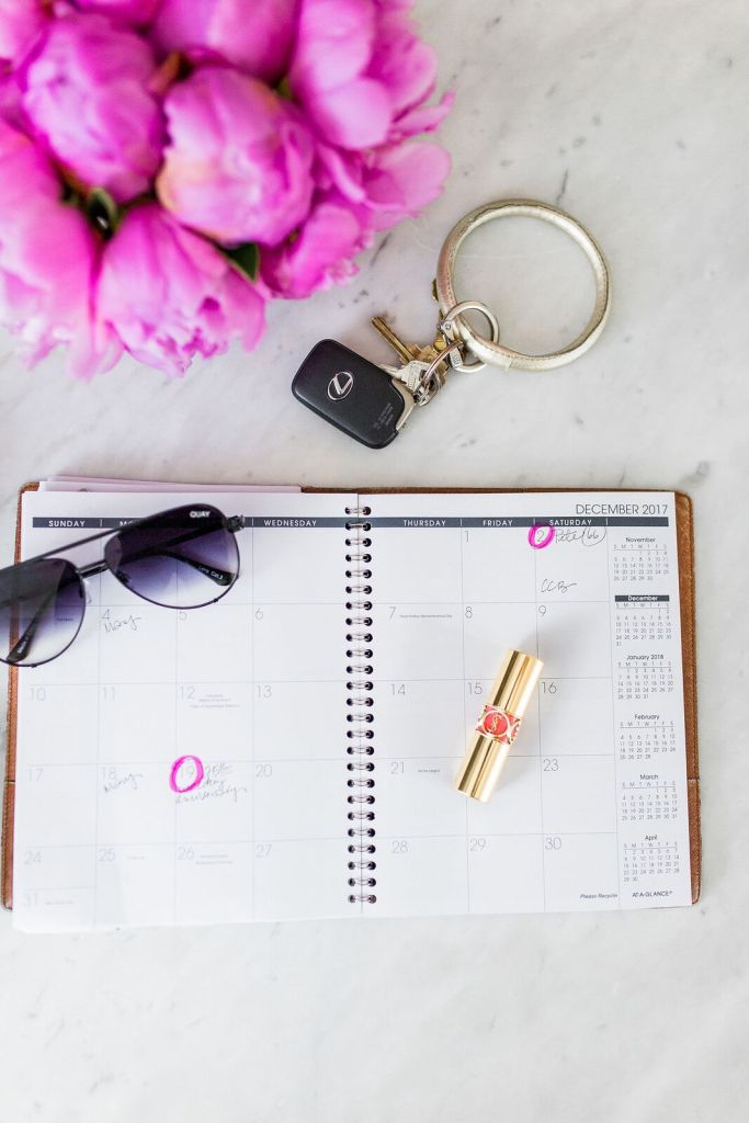 Sharing 5 bags that are worth the price and what's in my bag on TanyaFoster.com | 5 Best Designer Bags to Invest in and What's in my Bag by popular Dallas fashion blogger, Tanya Foster: image of an open day planner, sunglasses, and tube of lipstick.