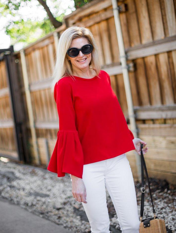 Red Zara Bell Sleeve Top, White Denim, Free People Wicker Purse, Quay Sunglasses
