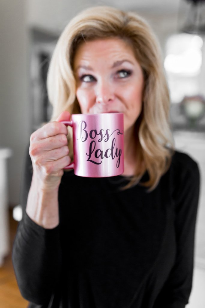 tanya foster sipping out of a boss lady mug