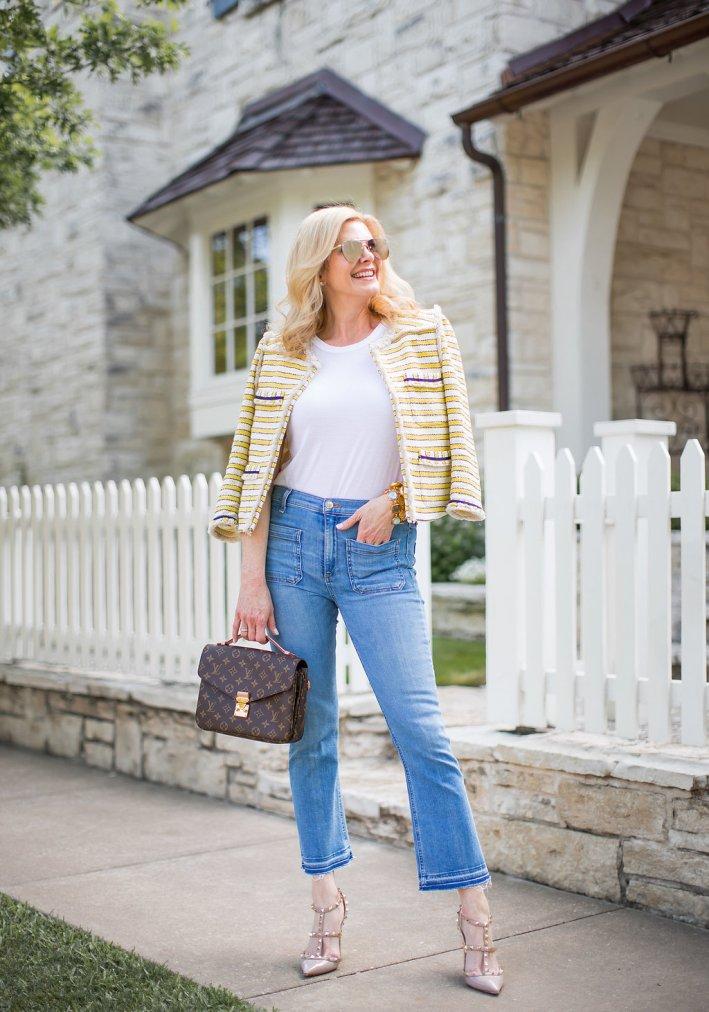Veronica Beard tweed jacket, jeans, white t-shirt with Louis Vuitton pochette metis bag